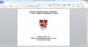 Sample NTU Lab Report